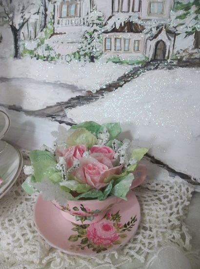 (Frosted Francy) Decorated Handpainted Teacup