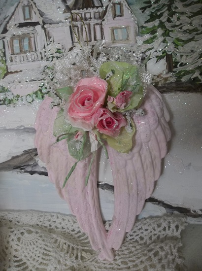 (Lacey Rose) Decorated Angel Wings Ornament