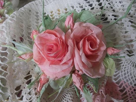 (Peachie Queenie) Handmade Paper Rose Clip