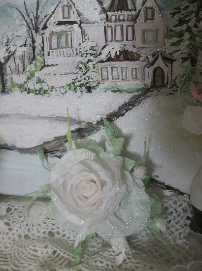 (Snow White) Prism Glittered Handmade Paper Rose Clip