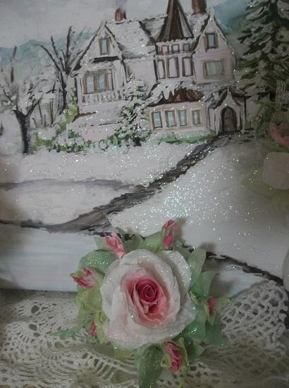 (Miss St. Nick) Prism Glittered Handmade Paper Rose Clip