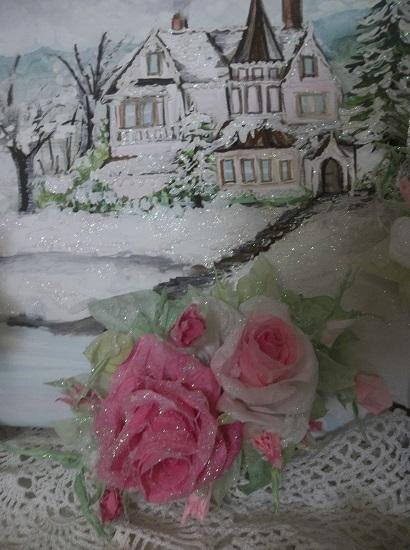 (Noella Rose) Prism Glittered Handmade Paper Rose Clip