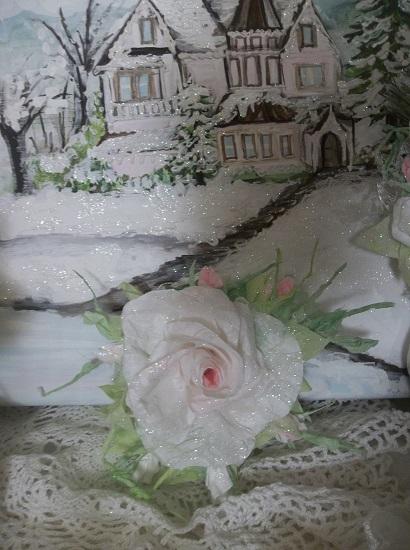 (Dream Sickle) Prism Glittered Handmade Paper Rose Clip