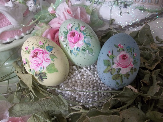 (Cotton Tail) Set Of 3 Handpainted Eggs