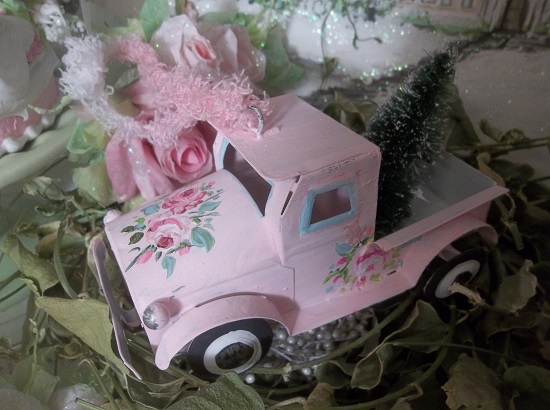 (The Old Dream Truck) Handpainted Metal Truck Christmas Ornament