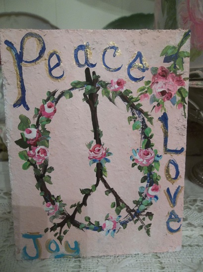 (Love Joy Peace Sign) Handpainted Sign