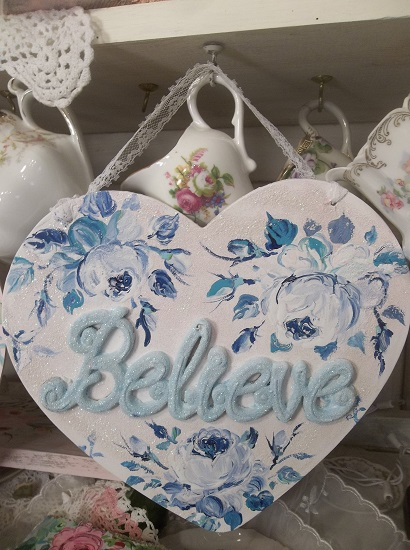 (Believe When You Are Blue Too) Handpainted And Decorated Heart Cutout