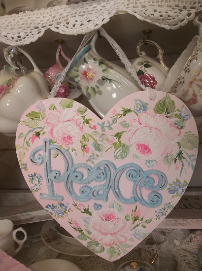 (Peace In The Rose) Handpainted And Decorated Heart Cutout