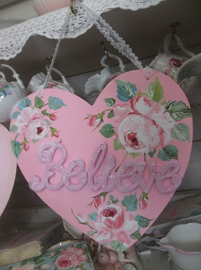 (Believe In Love) Handpainted And Decorated Heart Cutout
