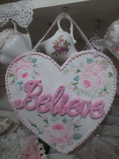 (Believe Sign) Handpainted And Decorated Heart Cutout
