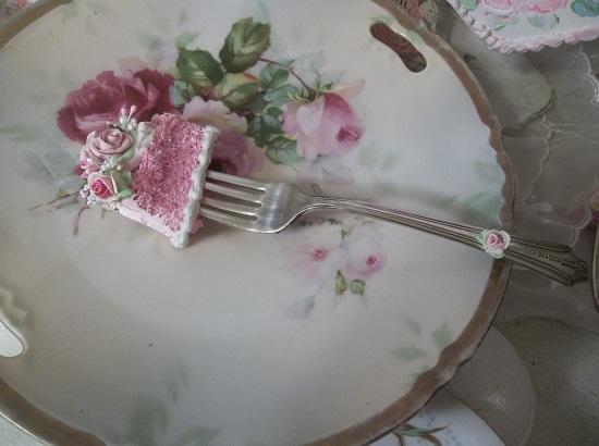 (Samantha's Samples) Vintage Fork, Bite Of Fake Cake