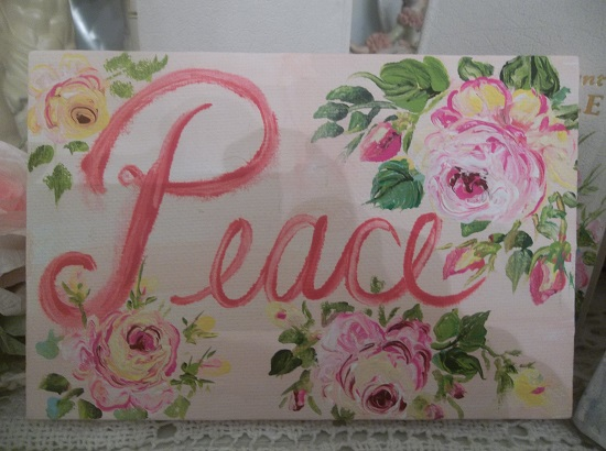 (Peace) Handpainted Canvas And Frame