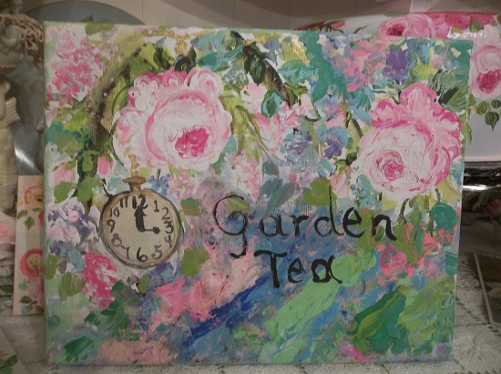 (Garden Tea) Hand painted  Stretched Canvas Over Wood Frame .