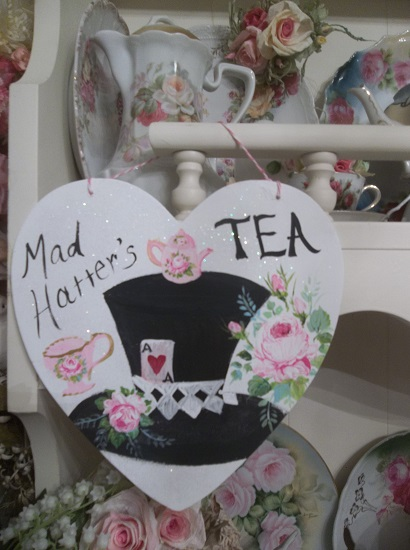 (Mad Hatters Tea) Handpainted Wood Heart