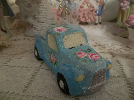 (Old Blue) Handpainted And Decorated Truck Christmas Ornament