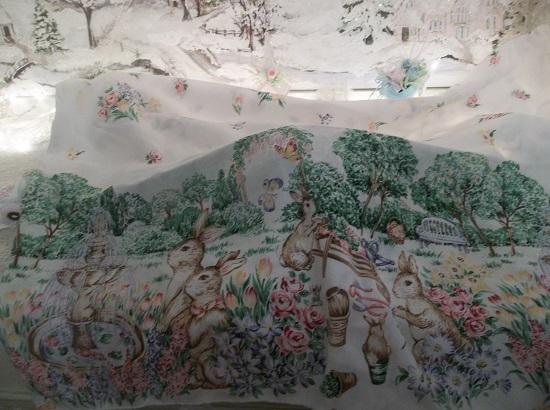 (Sweet Springtime In Bunny Garden Central) Easter Spring Tablecloth