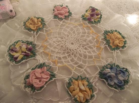 (Jaynie) Handmade Multicolor Crochet Doily
