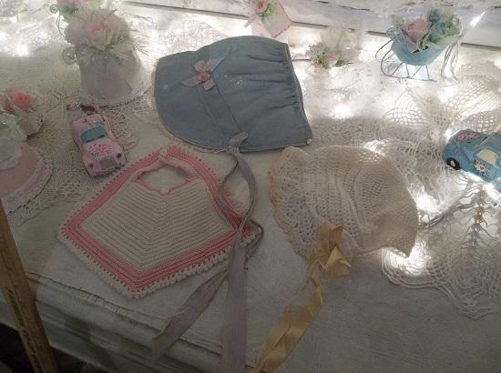 (Babies Sweet Charm) Crochet Bib And 2 Bonnets