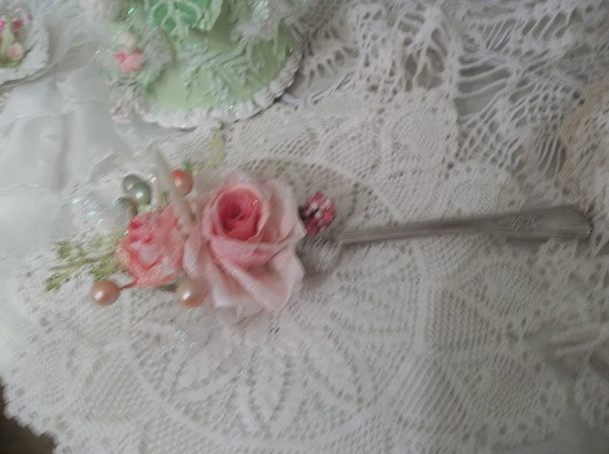(A Spoon Full Of Thanksgiving) Decorated Vintage Serving Spoon