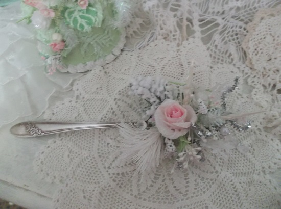 (Wintertime) Decorated Vintage Serving Spoon
