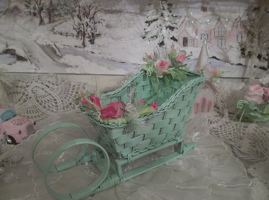 (Mrs. Santa's Summer Ride) Decorated Sleigh Christmas Decoration