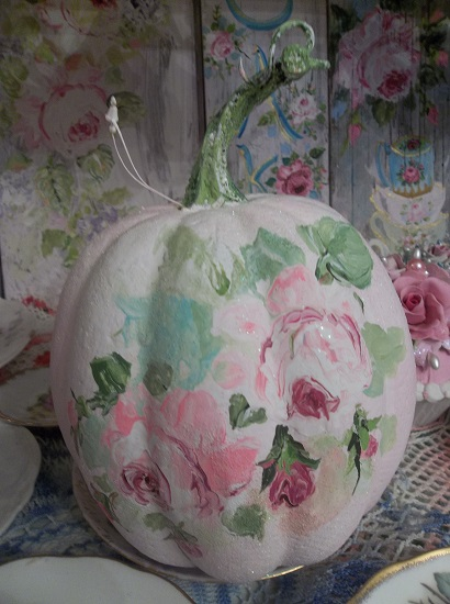 (Rosie Boo) Handpainted Fake Pumpkin