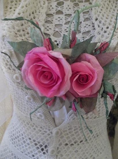 (Jazzy Jasmine) Handmade Paper Rose Clip