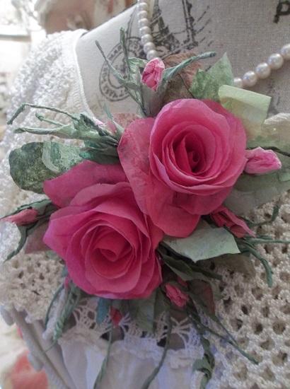 (Truest Trudie) Handmade Paper Rose Clip