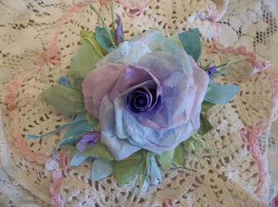 (Alicina Violet) Handmade Paper Rose Clip