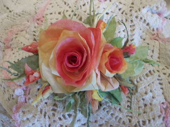 (Autumn Sunset) Handmade Paper Rose Clip