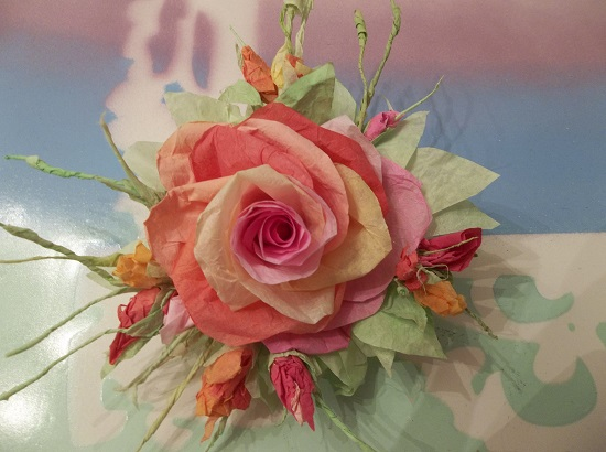 (Octauia) Handmade Paper Rose Clip