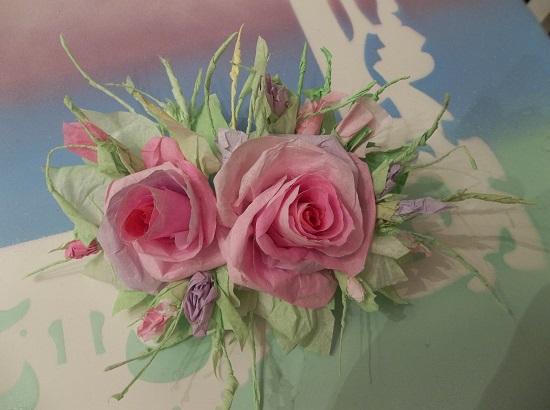 (Orpah) Handmade Paper Rose Clip