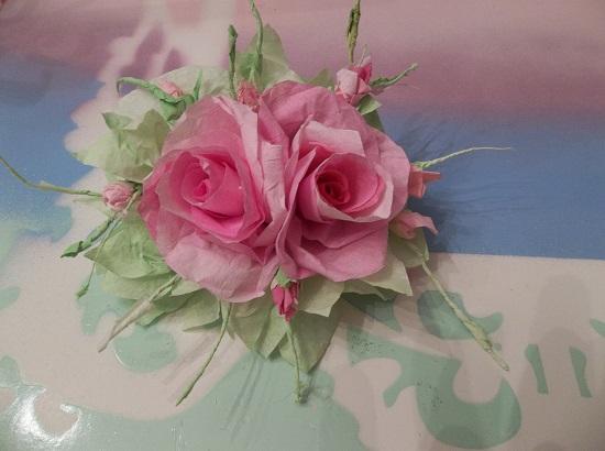 (Orpha) Handmade Paper Rose Clip