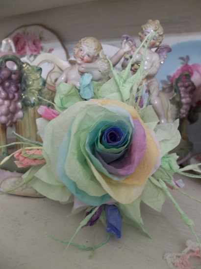 (Over The Rainbow) Handmade Paper Rose Clip