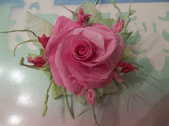 (Janet Rosa) Handmade Paper Rose Clip