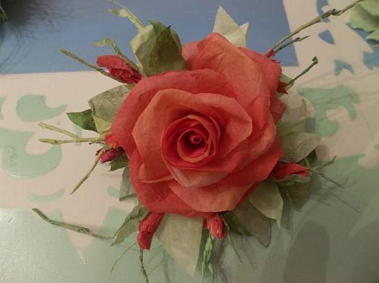 (Benita) Handmade Paper Rose Clip