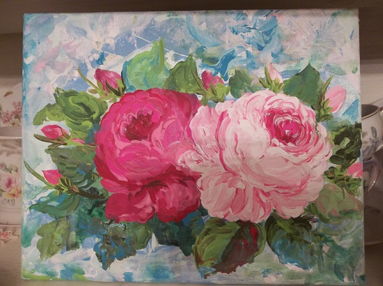 (Pretty Roses) Acrylic Painting On Stretched Canvas