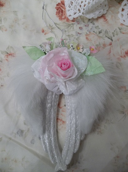 (Angella) Decorated Angel Wings Ornament