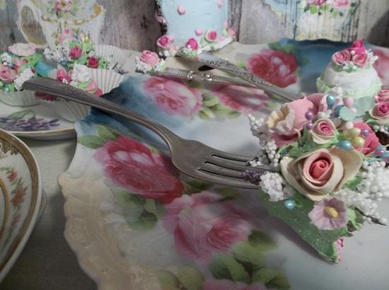 (Sugar Cake) Vintage Fork, Bite Of Fake Cake