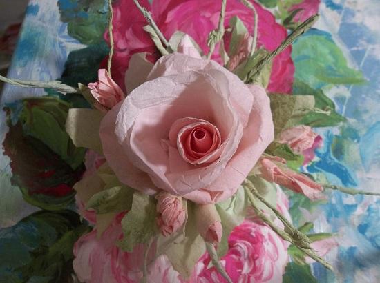 (Peach) Handmade Paper Rose Clip