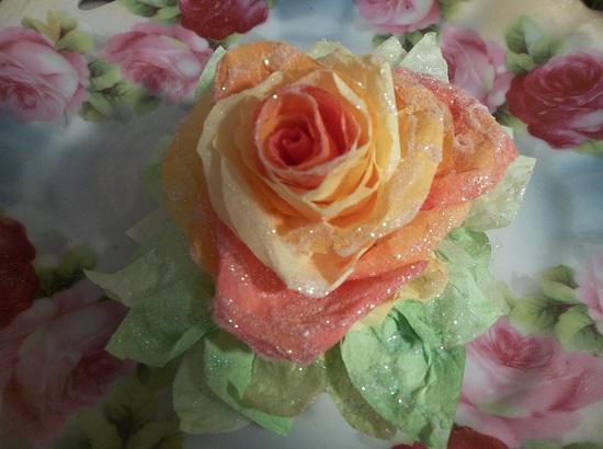 (Lori) Glittered Handmade Paper Rose