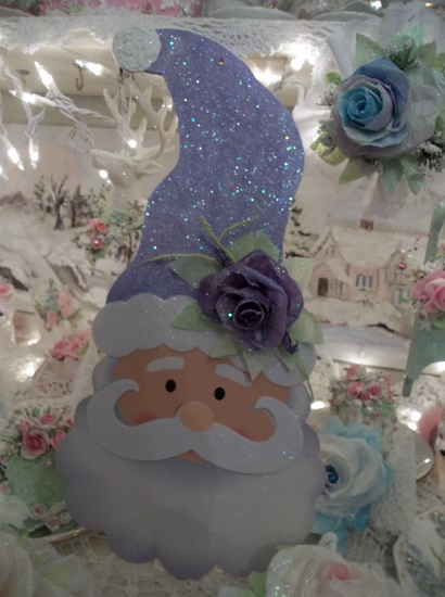(Violet Santa) Decorated Santa Cutout Christmas Decoration