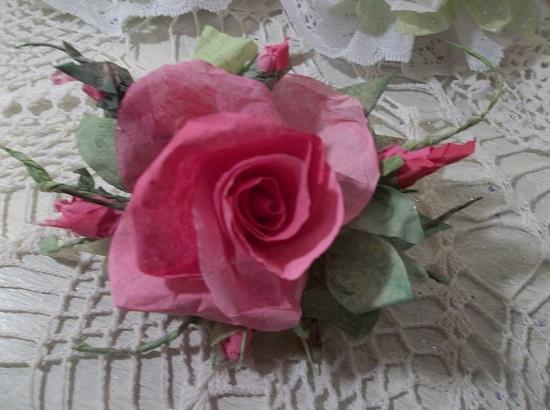 (Gabbie) Handmade Paper Rose Clip