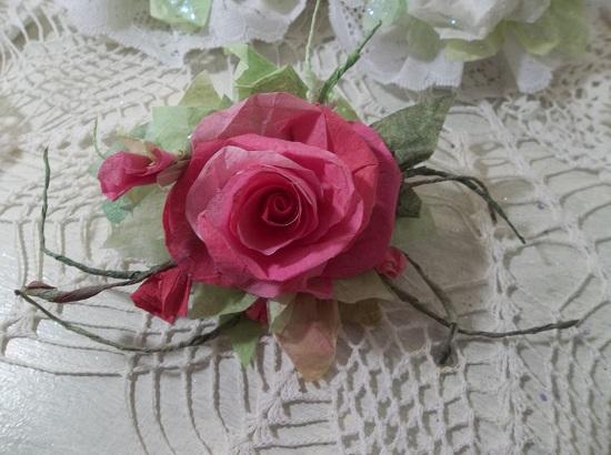 (Marla) Handmade Paper Rose Clip