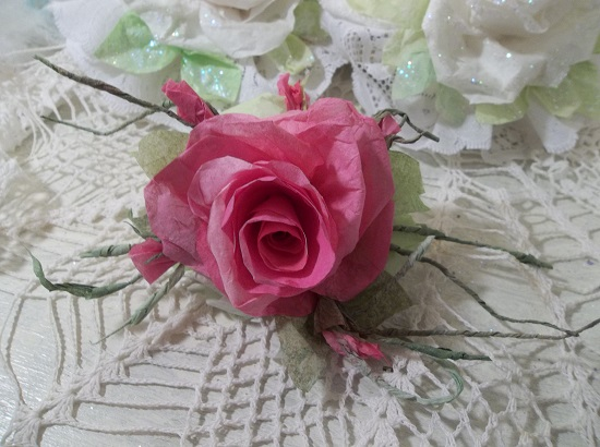 (Josie) Handmade Paper Rose Clip