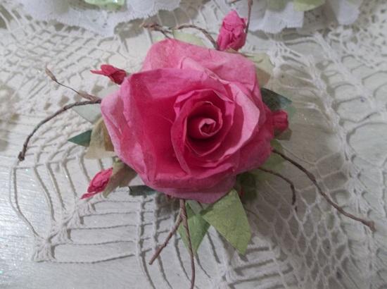 (Leah) Handmade Paper Rose Clip