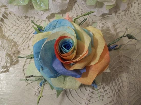 (Hannah) Handmade Paper Rose Clip