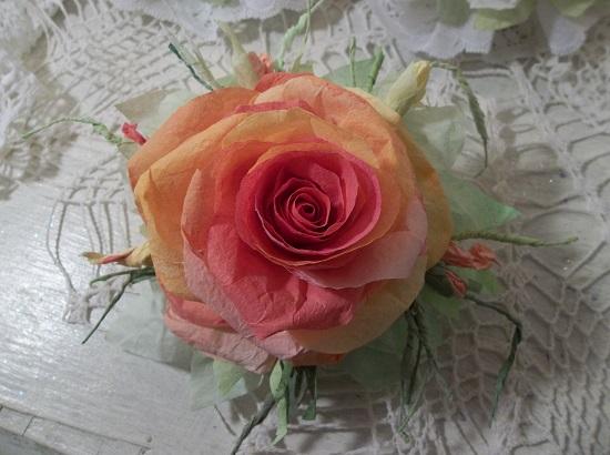 (Gina Tangerina) Handmade Paper Rose Clip
