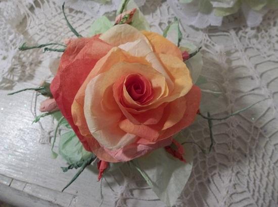 (Sunrise) Handmade Paper Rose Clip