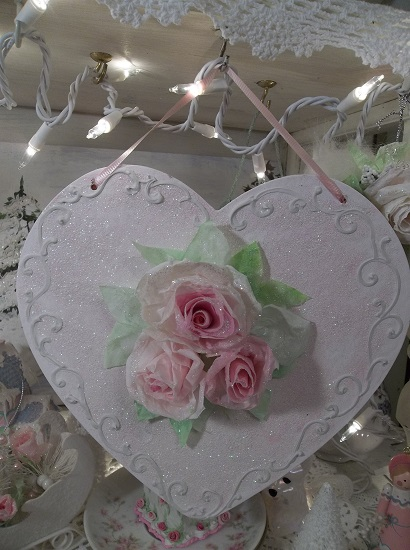 (The Heart Of Winter) Decorated Glittered Heart With Handmade Paper Roses